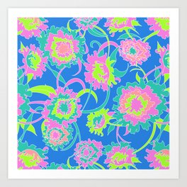 Bold Tropical Floral in Neon Blue + Lime Art Print