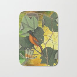 Baltimore Oriole on Tulip Tree, Vintage Natural History and Botanical Bath Mat