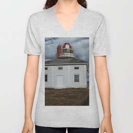 Lighthouse in Newfoundland, Canada Unisex V-Neck