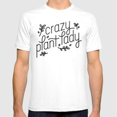 Crazy Plant Lady White SMALL Mens Fitted Tee