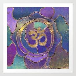 Om Symbol Golden and Paint texture Art Print
