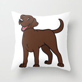 Happy Chocolate Lab Throw Pillow