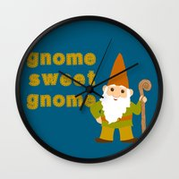 gnome Wall Clocks featuring gnome sweet gnome by Elephant Trunk Studio