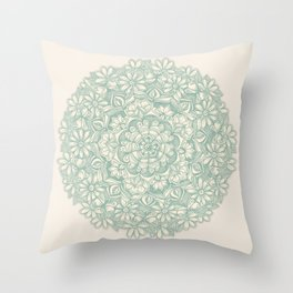 Sage Medallion with Butterflies & Daisy Chains Throw Pillow