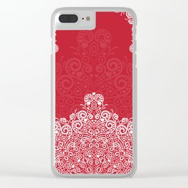 Red background with white love mandala Clear iPhone Case