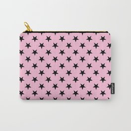 Black on Cotton Candy Pink Stars Carry-All Pouch