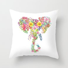 Flower Elephant Watercolor Throw Pillow