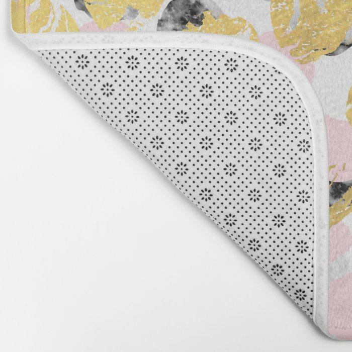 Stellan - Rose Marble Gold abstract art painting modern minimal love rosequartz pastel pink dorm Bath Mat