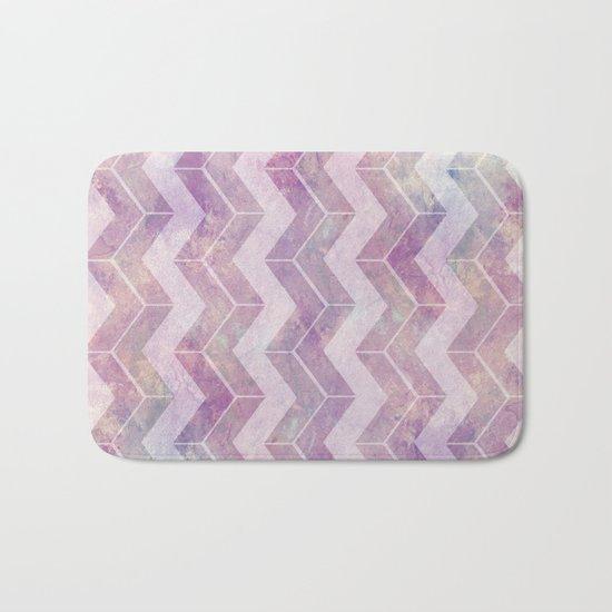 Watercolor pink pattern chevron Bath Mat