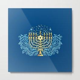 Golden menorah Hanukkah greeting festival of lights decoration  Metal Print