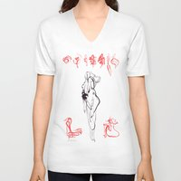 sleep V-neck T-shirts featuring Sleep by Veronique Meignaud