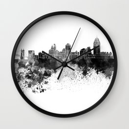 Cincinnati skyline in black watercolor Wall Clock