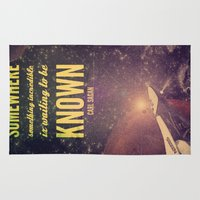 carl sagan Area & Throw Rugs featuring Space Exploration (Carl Sagan Quote) by taudalpoiart