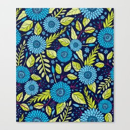 Turquoise Blue, Lime Green, Magenta & Navy Floral Pattern Canvas Print