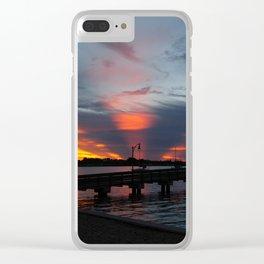Jensen Beach Fishing Pier at Sunset Clear iPhone Case