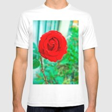 INTENSE RED ROSE Mens Fitted Tee SMALL White