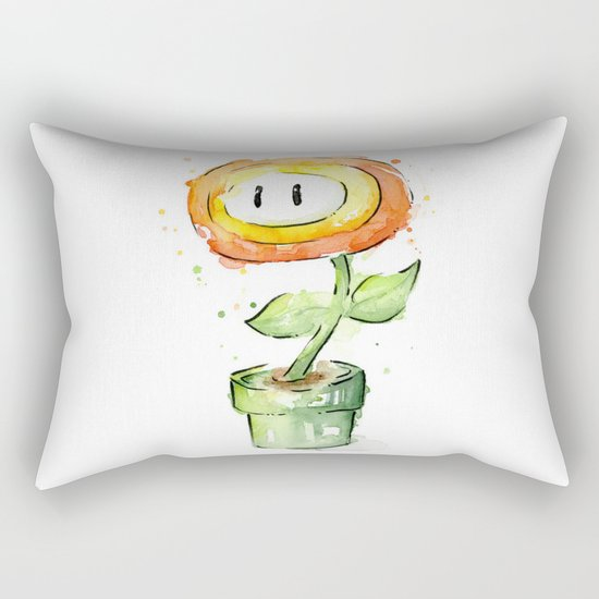 Fireflower Watercolor Painting Rectangular Pillow