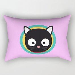 Black Cat with Green Circle Rectangular Pillow