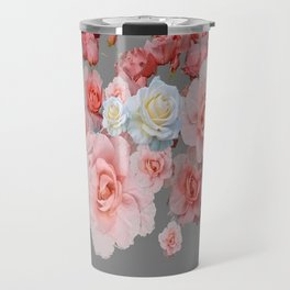 CORAL PINK, WHITE ANTIQUE GARDEN ROSES ON GREY Travel Mug