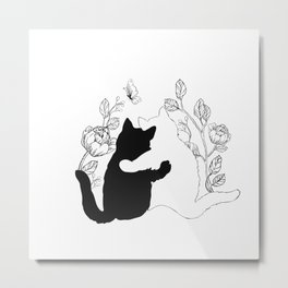 Black and white cats hugging floral decor Metal Print