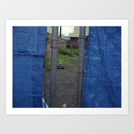 bike behind fence Art Print