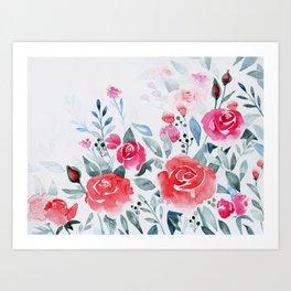 Red roses watercolor painting Art Print
