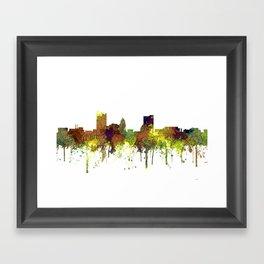 Fort Wayne, Indiana Skyline SG - Safari Buff Framed Art Print