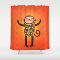 monkey Shower Curtains featuring Monkey by Anna Alekseeva kostolom3000