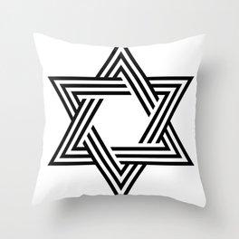 Six Stripe Hexagram Black and White Throw Pillow