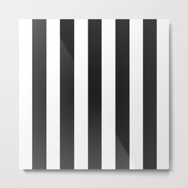 Raisin black - solid color - white vertical lines pattern Metal Print
