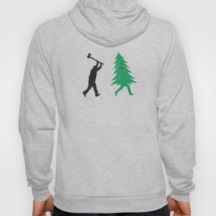 Funny Cartoon Christmas tree is chased by Lumberjack / Run Forrest, Run! Hoody