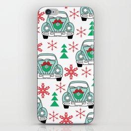vintage christmas cars iPhone Skin