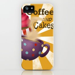 Coffee and cakes digital illustration  iPhone Case