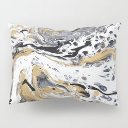 Black White and Gold Fluid Abstract Pillow Sham