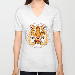 Geometric Tiger Unisex V-Neck
