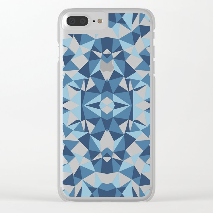 Abstract Collide Blues Clear iPhone Case