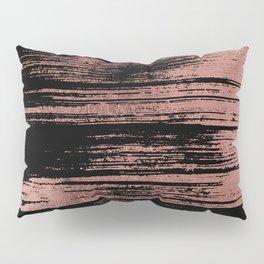 Modern black brushstrokes elegant faux rose gold Pillow Sham