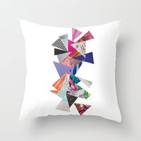 triangles Throw Pillows featuring Triangles by Lydia Coventry