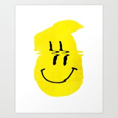 Smiley Glitch Art Print