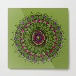 Bohemian Mandala in Green with Pink and Purple Metal Print