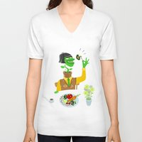 vegetarian V-neck T-shirts featuring Vegetarian parody by Bakal Evgeny