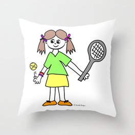 Tennis Girl Throw Pillow