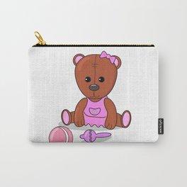 Teddy bear in a pink dress with a ball and maracas. Teddy bear girl. Carry-All Pouch