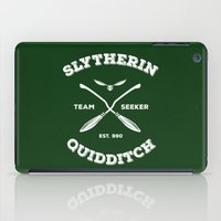 quidditch iPad Cases featuring Slytherin Quidditch Team Seeker: Green by Sharayah Mitchell
