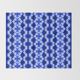 indigo shibori print Throw Blanket