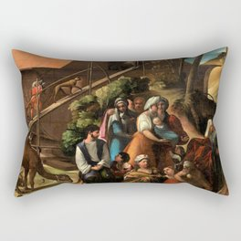 1520 Classical Masterpiece 'Entering into the Ark' by Dosso Dossi Rectangular Pillow