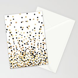 Floating Dots - Black and Gold on White Stationery Cards