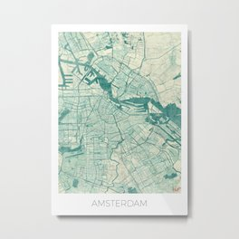 Amsterdam Map Blue Vintage Metal Print
