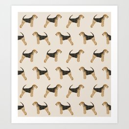 Airedale Terrier pattern dog breed cute custom dog pattern gifts for dog lovers Art Print