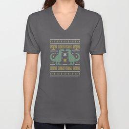 Dino Hanukkah Ugly Sweater Unisex V-Neck